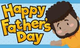 Cute Brunette Dad Celebrating Father`s Day, Vector Illustration. Banner with cute brunette dad saluting at you and celebrating Father`s Day stock illustration