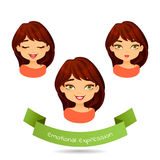 Cute brunette with different facial expressions. Set of different emotions of a girl: smile, joy, laugh. Cartoon girl with different expressions of emotion Stock Photo