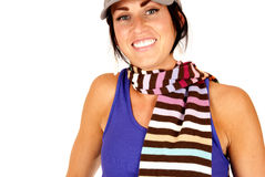 Cute brunette female with striped scarf around her neck Royalty Free Stock Image