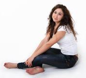 Cute brunette girl stock photo