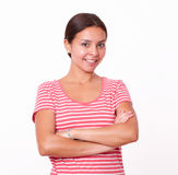 Cute brunette girl with crossed arms Royalty Free Stock Photography