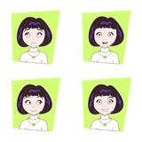 Cute Brunette Girl With Different Facial Emotions Set Of Young Woman Face Expressions Royalty Free Stock Photo