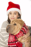 Cute brunette girl hugging a Shar Pei dog Royalty Free Stock Photography