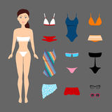 Cute brunette girl with swimsuits set. Paper doll Royalty Free Stock Photo