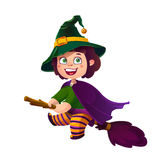 Cute Brunette Girl Witch on the Broom. Happy Halloween. Trick or Treat, Cartoon Illustration. Stock Photo