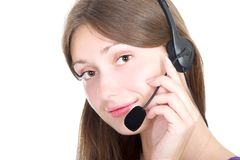 Cute brunette with a headset Stock Photos