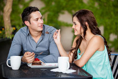Cute brunette and her boyfriend Royalty Free Stock Photography