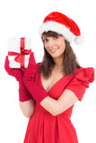 Cute brunette holding a gift Royalty Free Stock Image