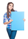 Cute brunette holding sign. Stock Photography