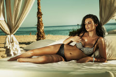 Cute brunette lady relaxing at the beach. Stock Image
