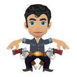 Cute brunette man with weapon, vector character Stock Photography