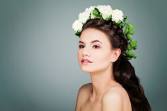 Cute Brunette Model Woman with Prom Hairstyle, Makeup and White Stock Photography