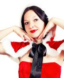 Cute brunette posing in a Christmas outfit Stock Photography