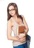 Cute brunette student girl. Stock Photography