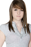 Cute Brunette Teenager against White Background Royalty Free Stock Image