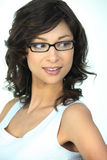 Cute brunette wearing glasses Stock Images