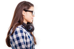 Cute brunette wearing headphones Stock Photography