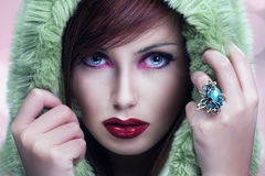 Cute brunette wearing hood Royalty Free Stock Photo
