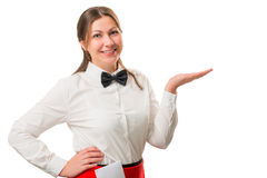 Cute brunette in white shirt and bow tie posing Royalty Free Stock Photos