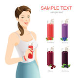 Cute brunette woman. Set of fruit juice and jam. Cute brunette woman hold glass of juice in her hand. Smiling girl in t-shirt and blue skirt Stock Images
