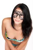 Cute brunette woman in swimsuit and mask Royalty Free Stock Image