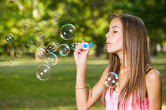 Cute bubble blower. Royalty Free Stock Photo