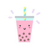 Cute bubble tea character. Royalty Free Stock Photography