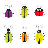 Cute bug cockroach set. Funny cartton character. Baby design. White background. Isolated. Flat design. Royalty Free Stock Photos