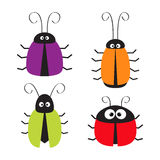 Cute bug set. Funny cartton character. Baby design. White background. Isolated. Flat design. Stock Photography