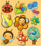 Cute Bugs. Cartoon illustration of various cute bugs Royalty Free Stock Image