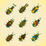 Cute bugs. Cartoon vector set Stock Image