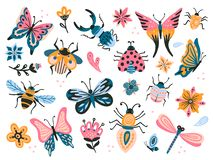 Cute bugs. Child drawing insects, flying butterflies and baby ladybird. Flower butterfly, fly insect and beetle flat stock illustration