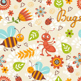 Cute bugs colorful seamless pattern Royalty Free Stock Photos