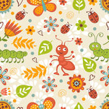 Cute bugs colorful seamless pattern Stock Photo