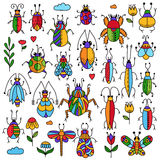 Cute bugs insects doodle collection Royalty Free Stock Image