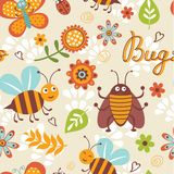 Cute bugs pattern. Cute bugs colorful seamless pattern Stock Images