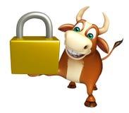 Cute Bull cartoon character  with lock Stock Photos