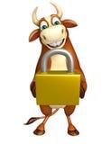 Cute Bull cartoon character  with lock Royalty Free Stock Photos