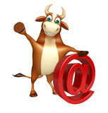 Cute Bull cartoon character with at the rate sign Royalty Free Stock Images