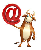 Cute Bull cartoon character with at the rate sign Royalty Free Stock Image
