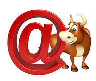 Cute Bull cartoon character with at the rate sign Stock Photography