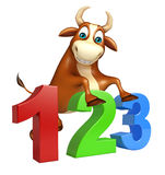 Cute Bull cartoon character with 123 sign. 3d rendered illustration of Bull cartoon character with 123 sign Royalty Free Stock Photos