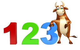 Cute Bull cartoon character with 123 sign Royalty Free Stock Photo