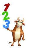 Cute Bull cartoon character with 123 sign Stock Image