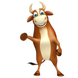 Cute Bull funny cartoon character. 3d rendered illustration of Bull funny cartoon character Stock Images
