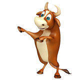Cute Bull funny cartoon character. 3d rendered illustration of Bull funny cartoon character Stock Photography