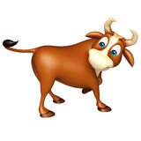 Cute Bull funny cartoon character. 3d rendered illustration of Bull funny cartoon character Stock Photo