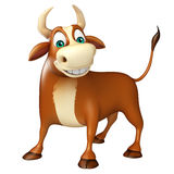 Cute Bull funny cartoon character. 3d rendered illustration of Bull funny cartoon character Stock Photos