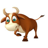 Cute Bull funny cartoon character. 3d rendered illustration of Bull funny cartoon character Royalty Free Stock Photo