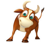 Cute Bull funny cartoon character. 3d rendered illustration of Bull funny cartoon character Royalty Free Stock Image